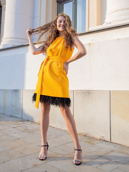 Wrap round neck dress with ostrich feathers