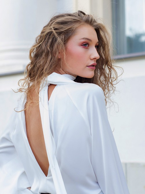 High neck blouse with scarf at the back