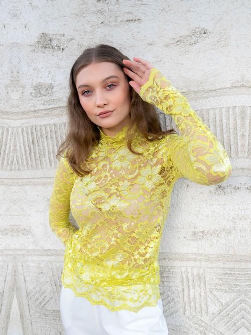 Yellow Lace Turtleneck
