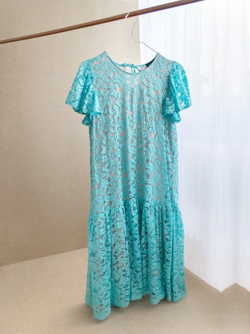 Midi lace dress with ruffle short sleeves