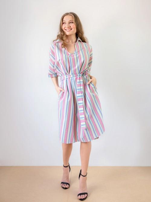 Rochie tip camasa cu buzunare si elastic in talie