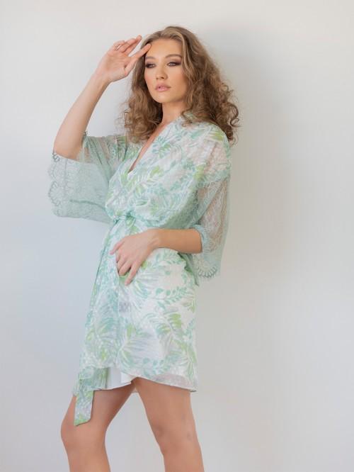 Kimono voal print frunze cu dantela Chantilly