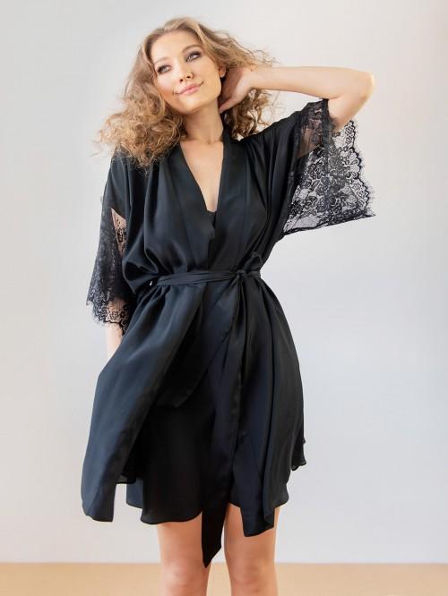 Kimono negru cu dantela Chantilly