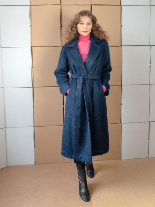 Palton din stofa de lana - bleumarin