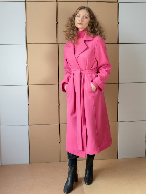"Palton din stofa de lana subtire ""Alpaca"" - roz"