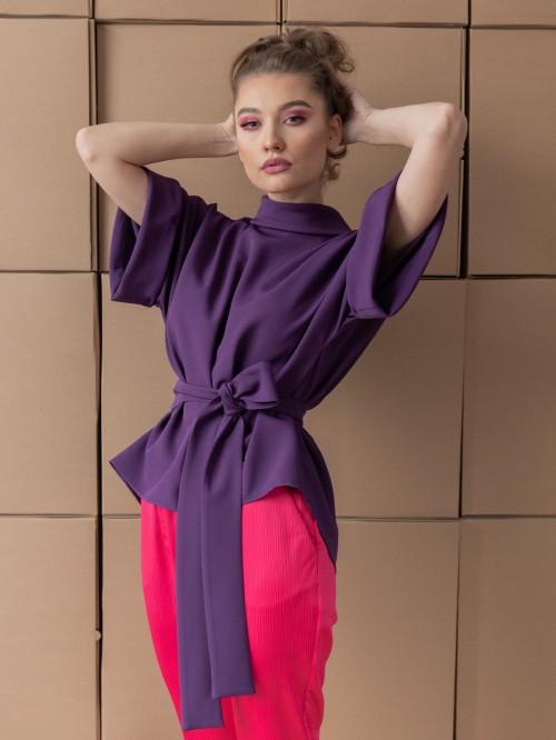Bluza Oversize cu Guler si Maneci Trei Sferturi - Mov Electric