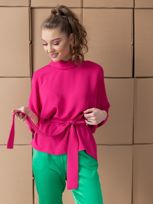 Bluza Oversize cu Guler si Maneci Trei Sferturi - Fuchsia