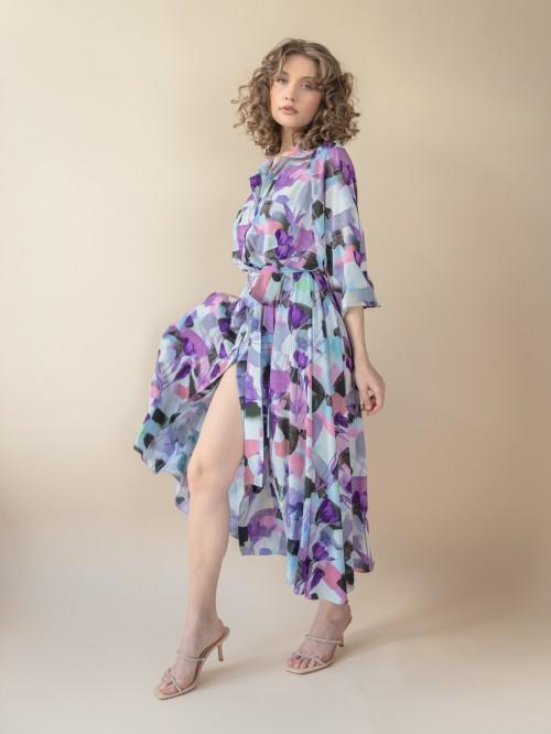 Rochie lunga tip camasa cu nasturi in fata